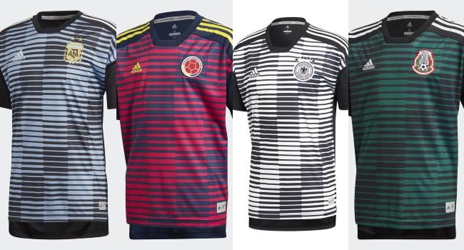 adidas también presentó las camisetas de entrenamiento para Rusia 2018 bajo  un mismo patrón de diseño a3ab445d1f7cb
