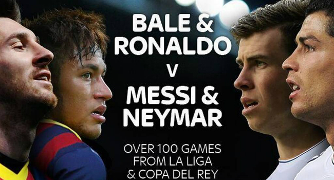 Sky Sports promociona la Liga Española enfrentando a Neymar y Messi vs Bale y Cristiano Ronaldo